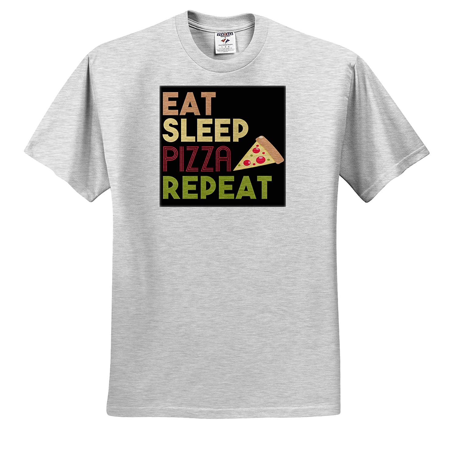 Quotes and Sayings 3dRose Anne Marie Baugh Adult T-Shirt XL ts/_319290 Eat Sleep Pizza Repeat