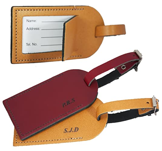416d47a75d11 Personalised Luggage Tag for suitcases - British Genuine Leather - Initials  Engraved - L1018  Amazon.co.uk  Handmade