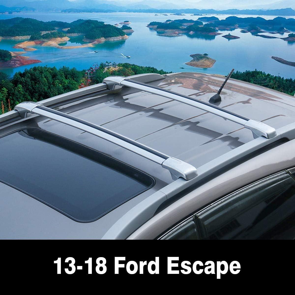Autoxrun 2 Pcs Crossbars Fit 2015-2018 Ford Escape Kuga Lockable Baggage Luggage Racks Roof Racks Rail Cross Bar