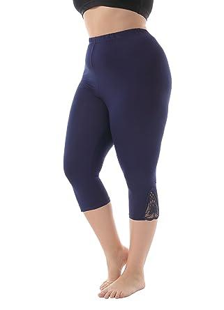 36cd2743ede66 ZERDOCEAN Women s Plus Size Modal Capri Leggings with Lace Trim (US 4X Plus