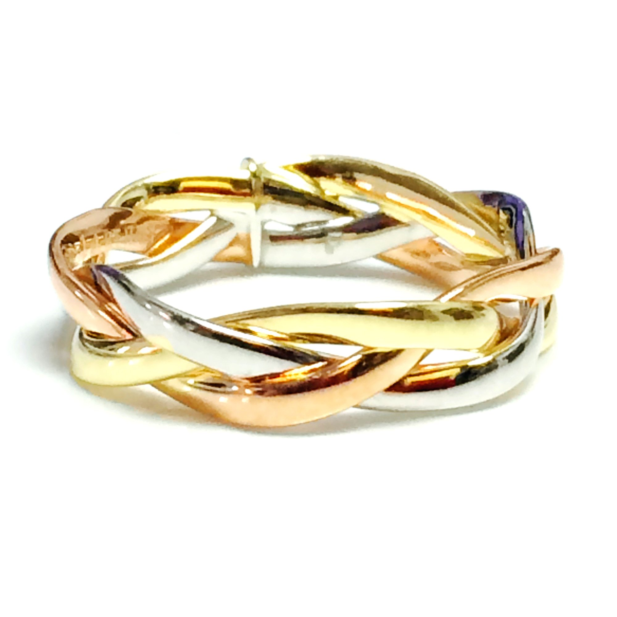 14K Tri-Color Gold Intertwined Braided Ring, 5mm, Size 8