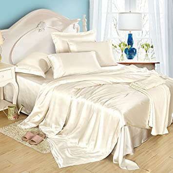 Exceptionnel LILYSILK 4Pcs Silk Bedding Sheets Set Flat Sheet Fitted Sheet Oxford  Pillowcases Set 19 Momme Pure