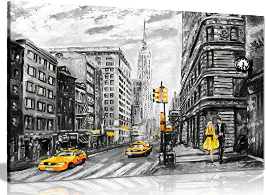 Black White Yellow New York City Oil Painting Canvas Wall Art Picture Print 36x24in