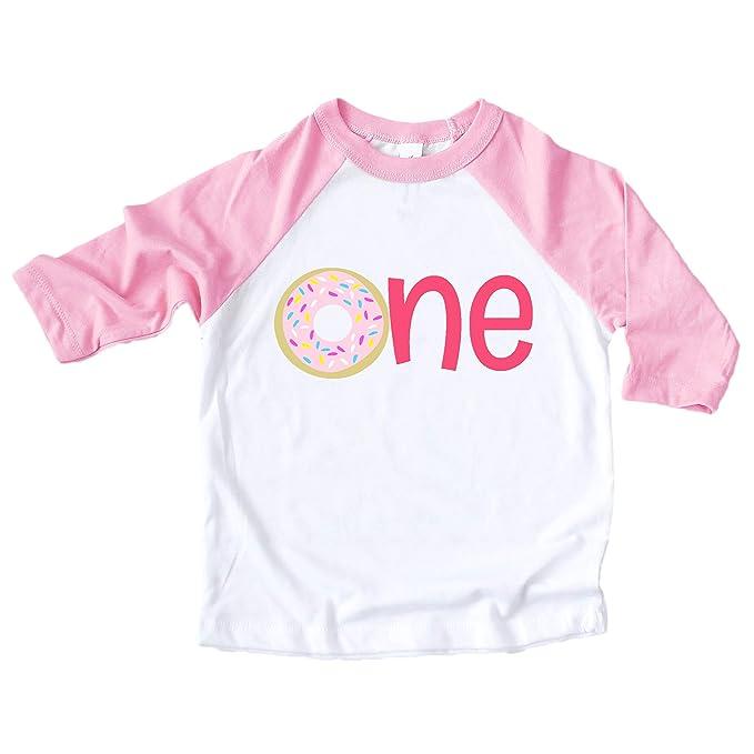 ab6a23e76 One Donut 1st Birthday Pink Raglan Shirt 1st Birthday Donut Shirt for Girls 1st  Birthday Outfit