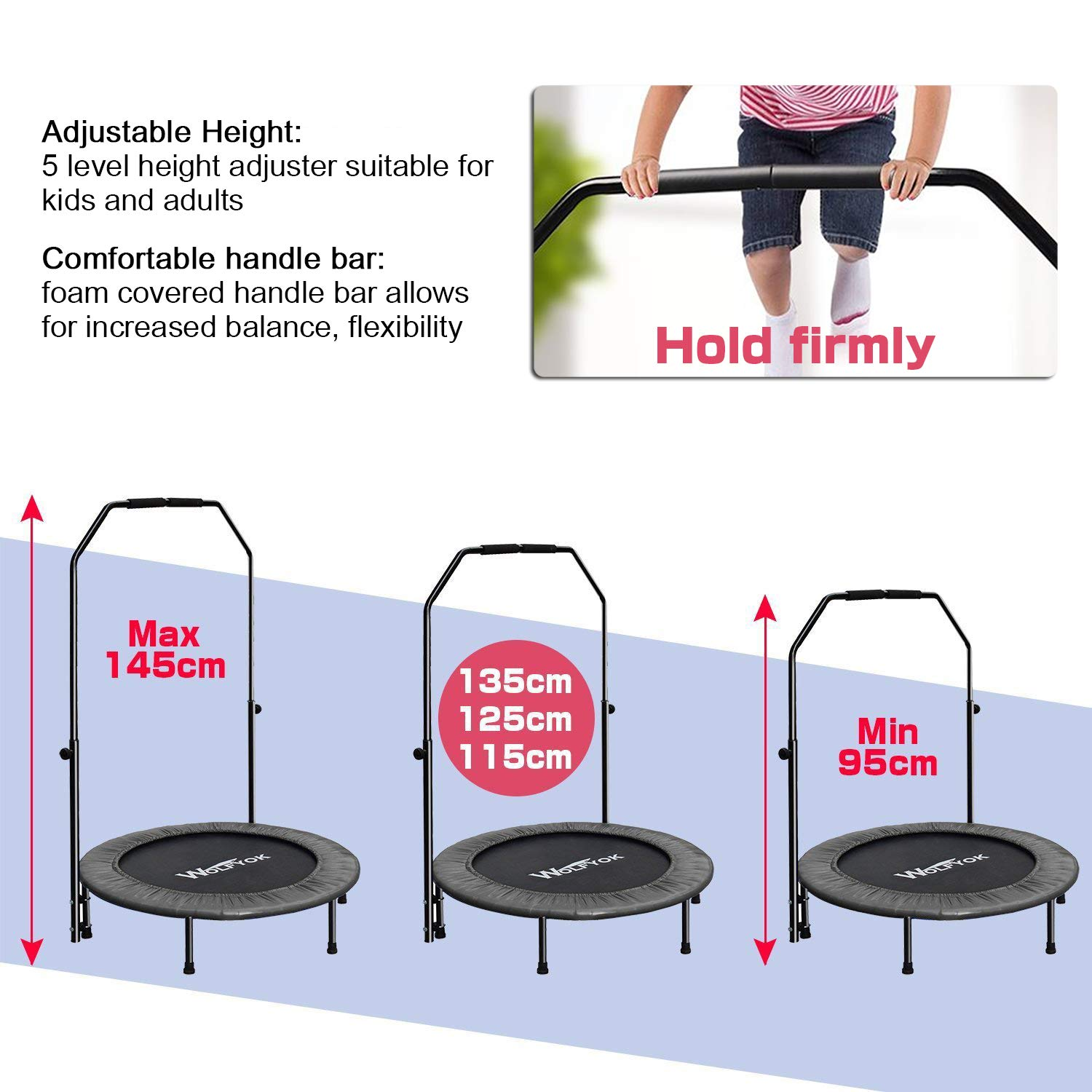 Wolfyok Exercise Trampoline with Safety Pad Adjustable Handle Bar Portable & Foldable Rebounder for Adults Kids Body Fitness Training Workout Max Load 220 lbs Black by Wolfyok (Image #6)
