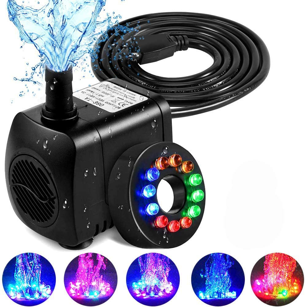 Feadem Submersible Pump 15W 700L/H Fountain Pump with 12pcs Colorful LED Light with 1.6m Power Cord for Fountain Pool Garden Pond Fish Tank Aquarium Statuary, Hydroponics