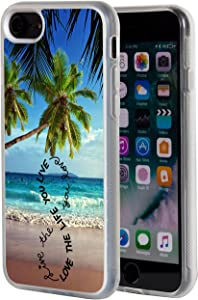 """iPhone 8 Case,iPhone 7 Case,AIRWEE Clear Bumper Tropical Beach Quote and Palm Tree Pattern Anti-Scratch Slim Soft TPU Back Protective Cover Case for Apple iPhone 8/7 4.7"""""""