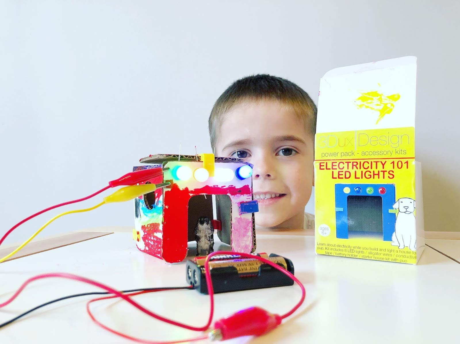 Cardboard Construction Kit with LED Lighting - Educational with Over 900 Pieces, Perfect for Learning STEM, STEAM, and Circuits in School and at Home by 3DuxDesign GOBOXPRO10