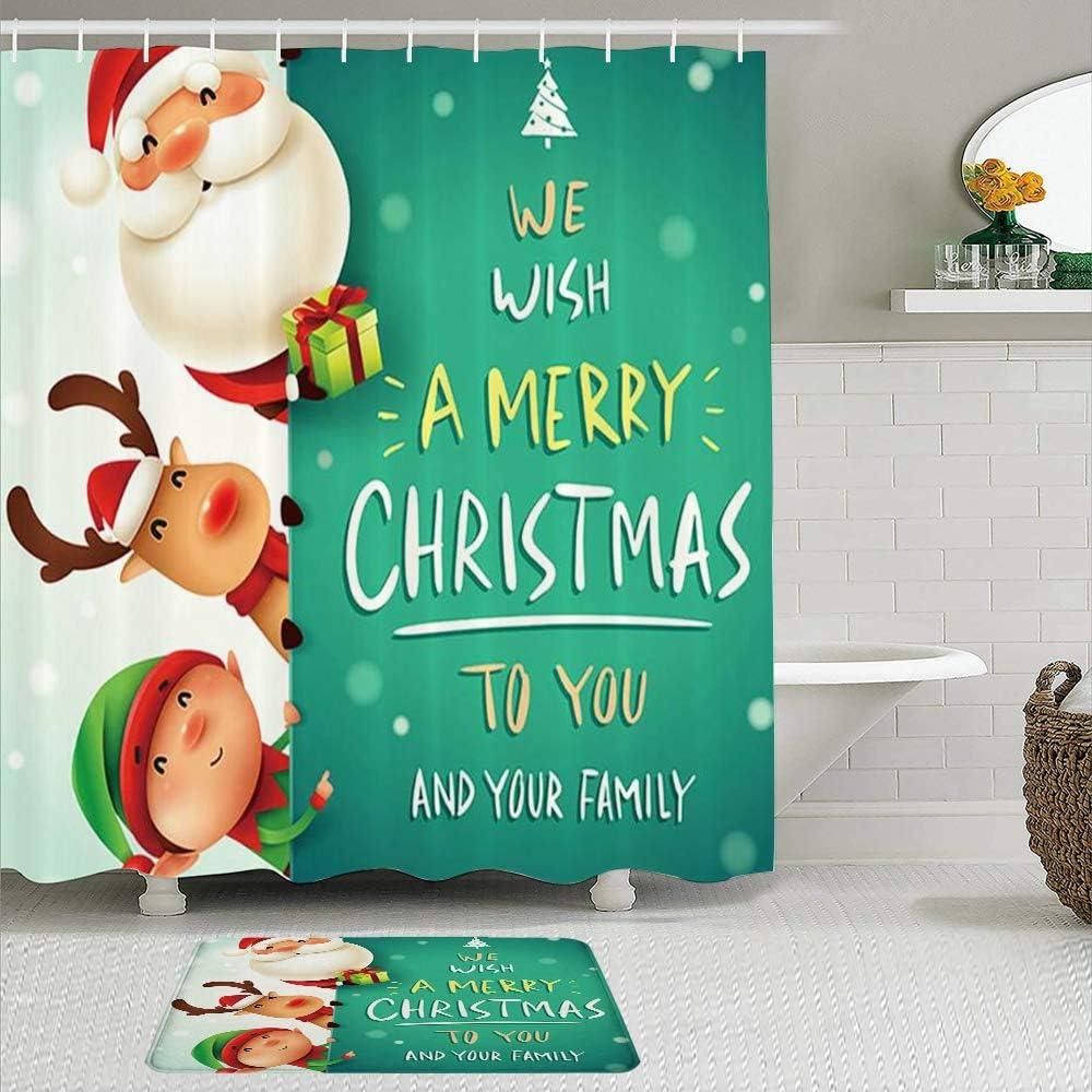 TONKSHA Juego de Cortinas de Ducha de 2 Piezas con Alfombra de baño Antideslizante,Feliz Navidad Divertido Santa Claus Nariz roja Renos y Duende en la Nieve Ocultar,12 Ganchos,Decoración de baño