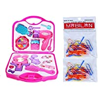 BabyBaba Free 2pkt. Rubber Band with Make-Up Beauty Set /Make up case / Make up Kit with Hair Dresser & Accessories Toy and Free Bands for Kids, Pink