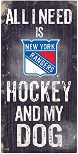Fan Creations NHL New York Rangers Unisex New York Rangers Hockey and My Dog Sign, Team Color, 6 x 12