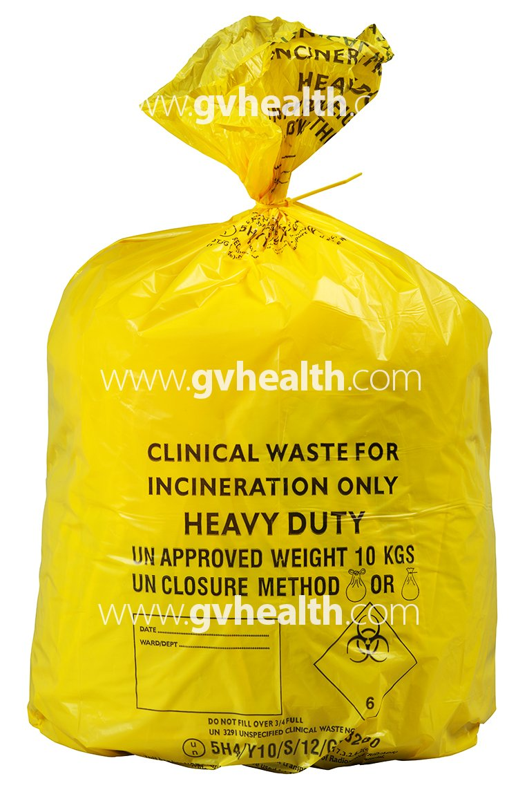 30L Small Yellow Medium Duty Clinical Waste Bags (500 Bags) GV Health CX50/CWMD3