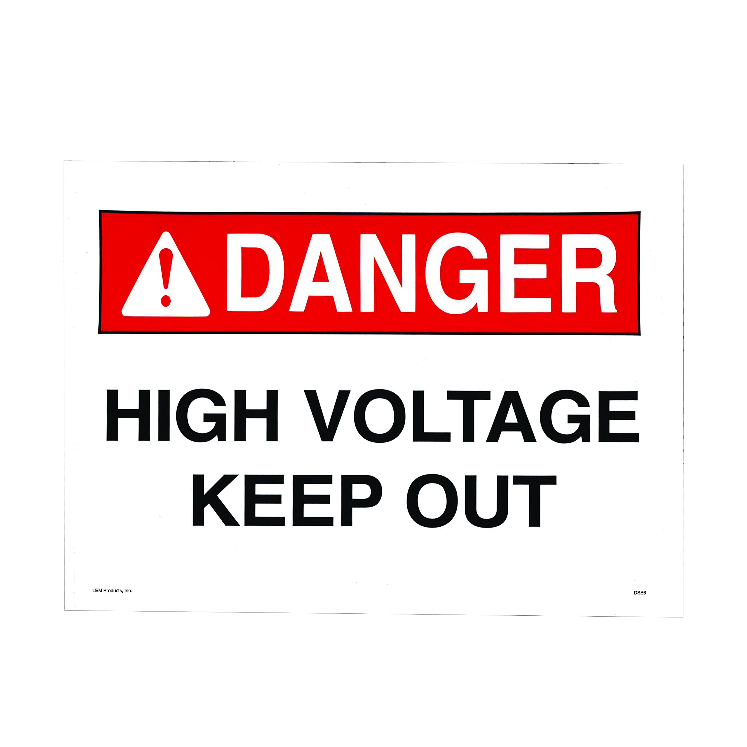 Rigid and Self-Adhesive Safety Sign and Self Adhesive Label, Self-Stick Safety Sign, Legend''High Voltage - Keep Out''