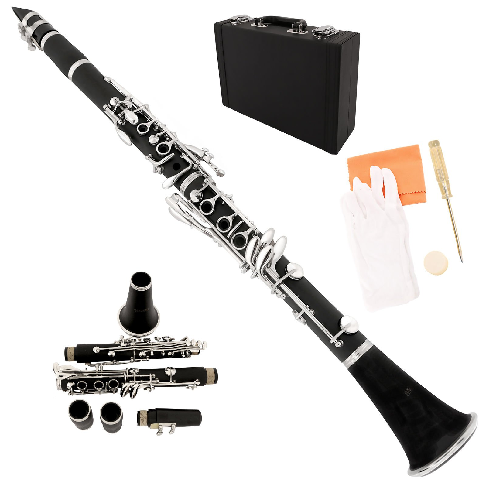 LAGRIMA Bb Flat Clarinet for students, with Case, 11 Reeds, Mouthpiece,Care Kit,Black Sliver Keys for Beginner/Adult