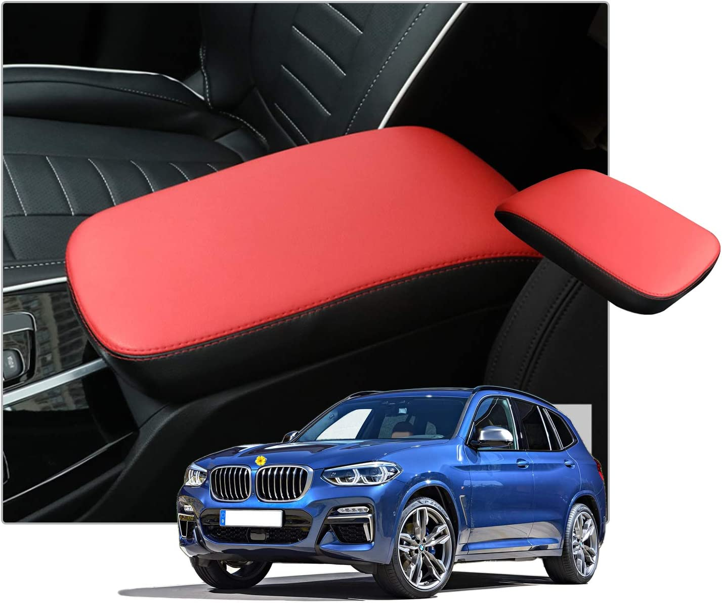 Black CDEFG Car Armrest Box Cover Center Console Saver Covers for BM W X3 G01 leatherette leather Interior Accessories