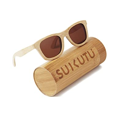 SUKUTU bambú ligero de madera entera marco gafas de sol ...
