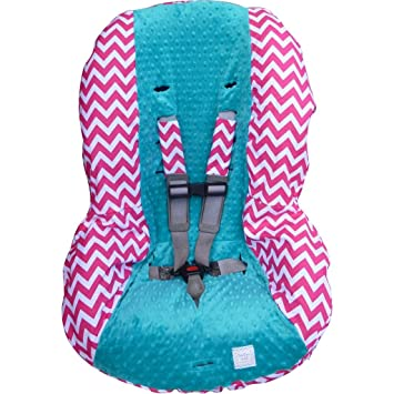 Peachy Hot Pink Chevron With Teal Toddler Car Seat Cover Dailytribune Chair Design For Home Dailytribuneorg