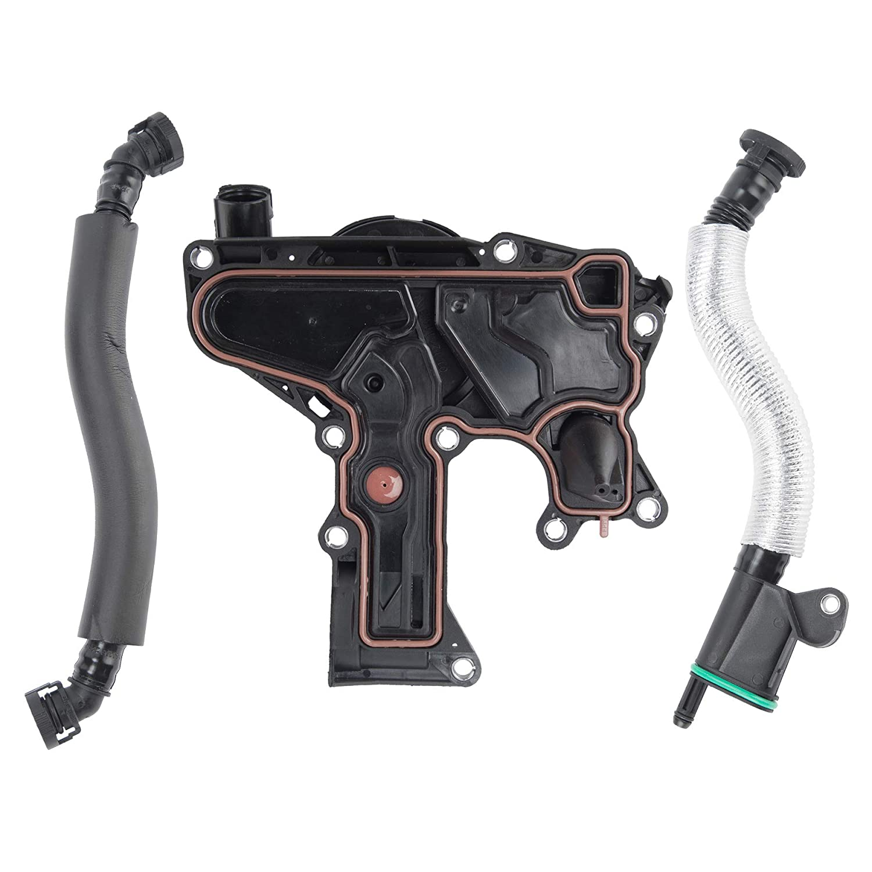 Engine Crankcase Vent Valve Oil Separator with Breather Hose Kit Replaces# 06H103495 06H103495AH PCV Valve Fits VW CC Passat Jetta GTI Tiguan Audi A4 A3 Q5 TT w// 2.0L L4 Turbo Engines