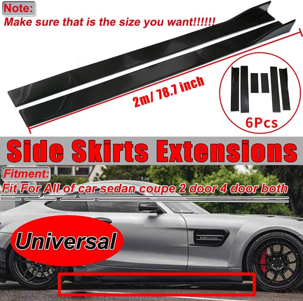 78.7/'/' Universal Side Skirts Extension Rocker Panel Cover Lip Glossy BLK