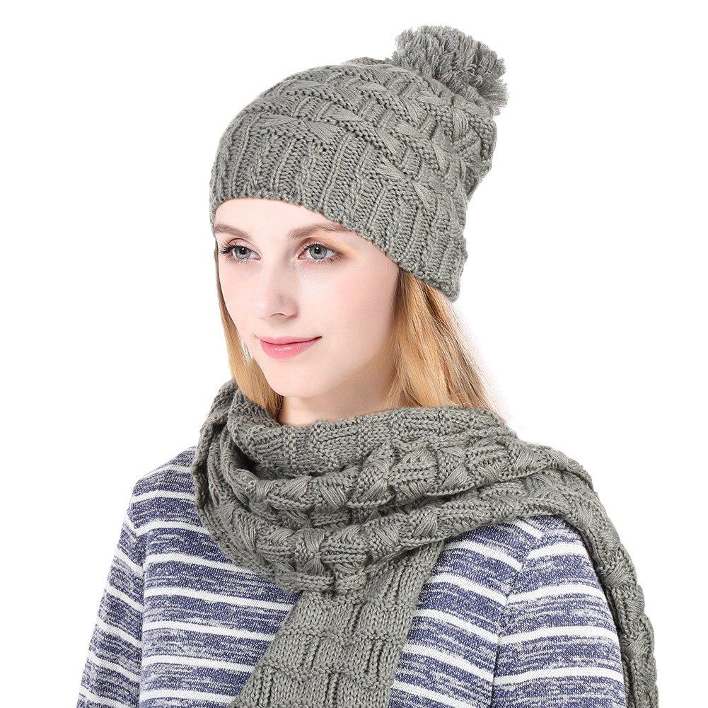 Vbiger Women Girls Winter Knitted Beanie Hat & Scarf Set