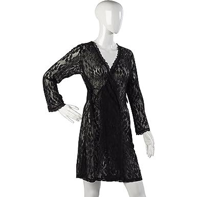 Ladies Slenderella Gaspe Lacy Wrap Womens Short Dressing Gown Tie ...
