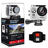 AKASO EK7000 4K Sport Action Camera Ultra HD Camcorder 12MP WiFi Waterproof Camera 170 Degree Wide View Angle 2 Inch LCD Screen W/2.4G Remote Control/2 Rechargeable Batteries/19 Accessories Kits- Silver