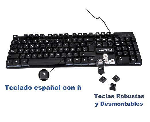 PRITECH - Teclado Gaming Retroiluminado en Español con Cable 1,45 Metros con Tacto Mecánico y Alta sensibilidad para Gamers y Oficina (Negro).