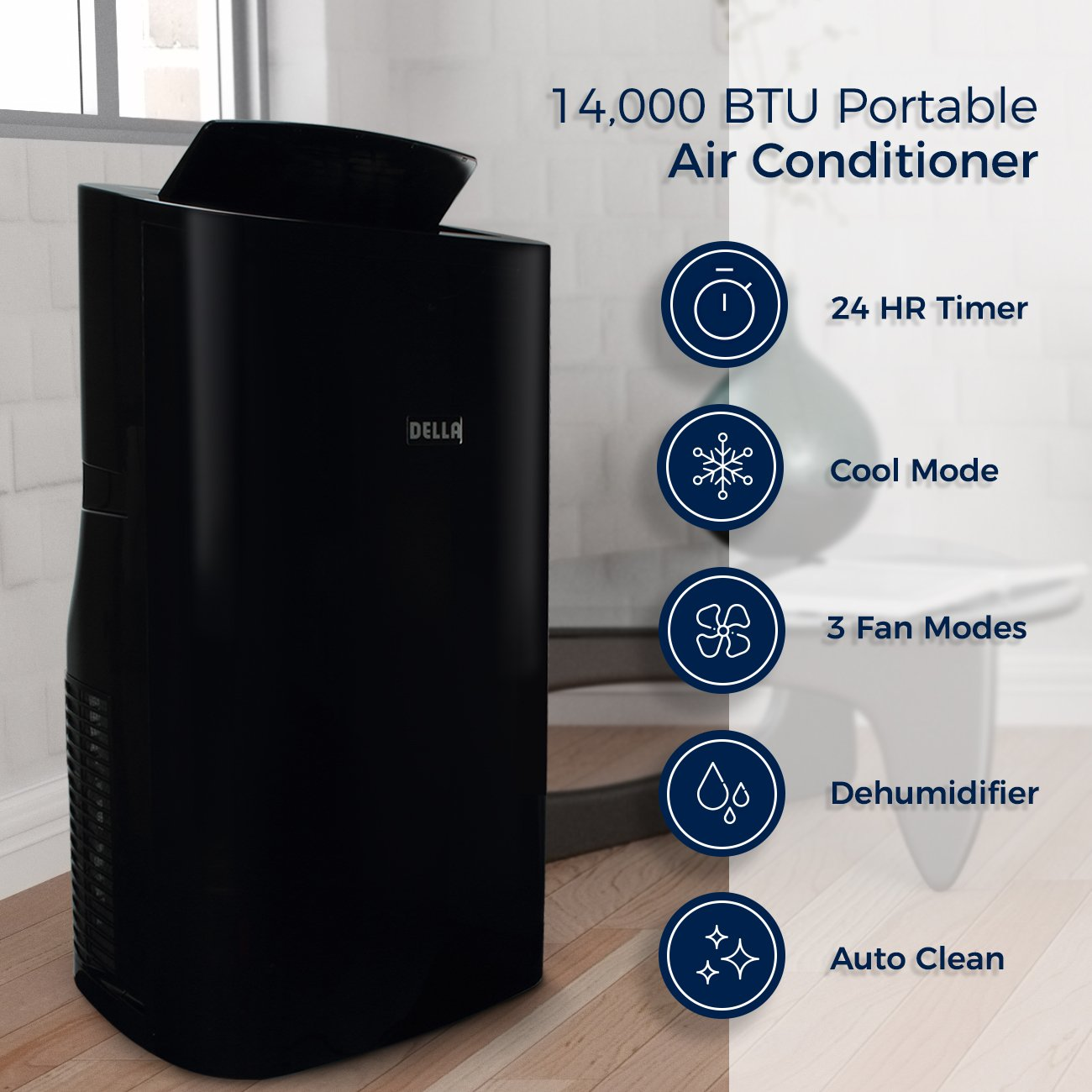 Della 14000 BTU 4-in1 Portable Air Conditioner Fan Cooling Dehumidifier Cool LED with Remote Control