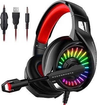 ELEHOT Cascos Gaming Auriculares Gaming Audio Estéreo con Micrófono Reducción de Ruido LED RGB Audio Surround Control de Volumen Controlador 50mm Jack 3.5 y USB para PC / PS4 / Switch/Xbox/Smartphone: Amazon.es: