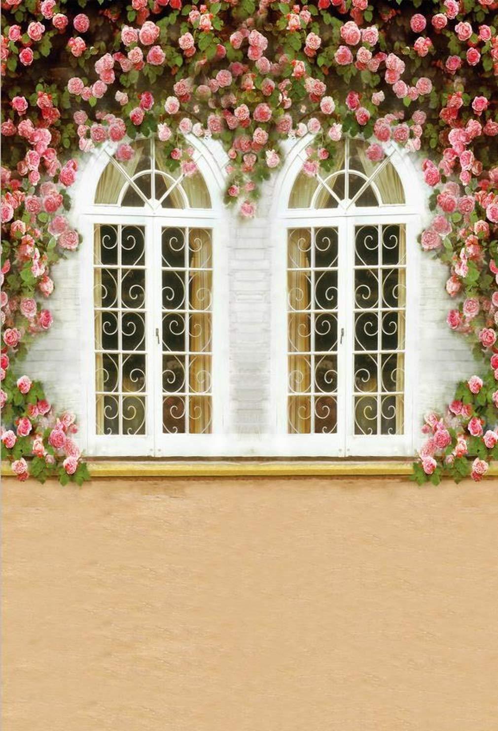 ピンク フローラル ホワイト ウィンドウ 写真 背景 ロマンチック 結婚式 パーティー 背景 子供 春 シーン 写真ブース 撮影小道具 5x7フィート   B07P1T39QL