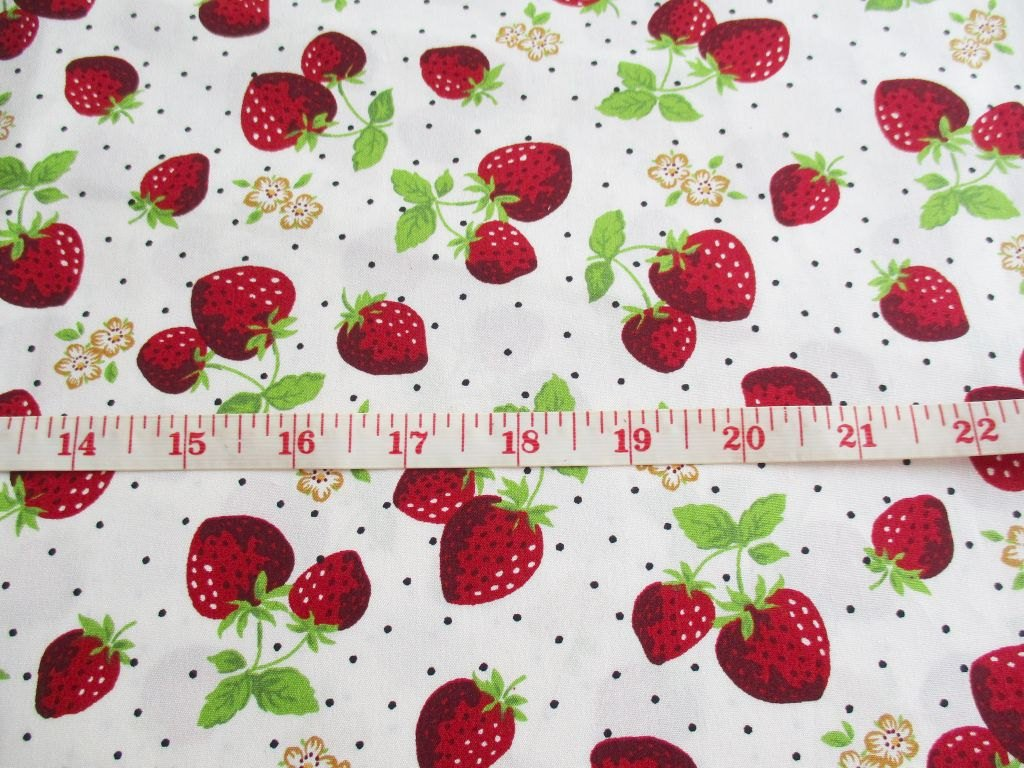 Strawberry Kitchen Curtains Amazoncom Red Juicy Strawberry Fabric On White Fabric By The
