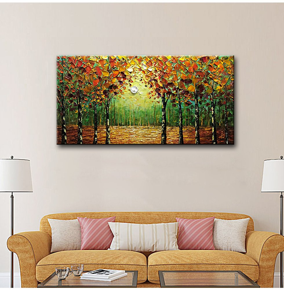 Desihum - 100% Hand-Painted Oil Painting Landscape Trees Forest Wall Art Modern Abstract Contemporary Artwork Stretched Wood Framed Ready Hang Home Decoration Wall Decor Living Room Hotel(20''x40'') by Desihum (Image #5)