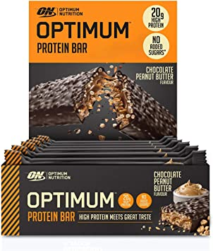 Optimum Nutrition ON Protein Bar barritas proteínas con whey protein isolate, dulces altas en proteína y low carb, chocolate mantequilla de cacahuete, ...