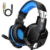 Auriculares Gaming PS4, Cascos Gaming con Micrófono, 3D Sonido y Reducción de Ruido, Jack 3,5mm, Control de Radio, PC…