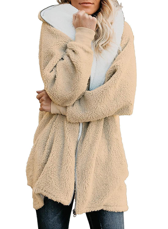 OLIVE TREE Women Full Zip Coats Hooded Sherpa Jacket Oversized Fuzzy Cardigan with Pockets