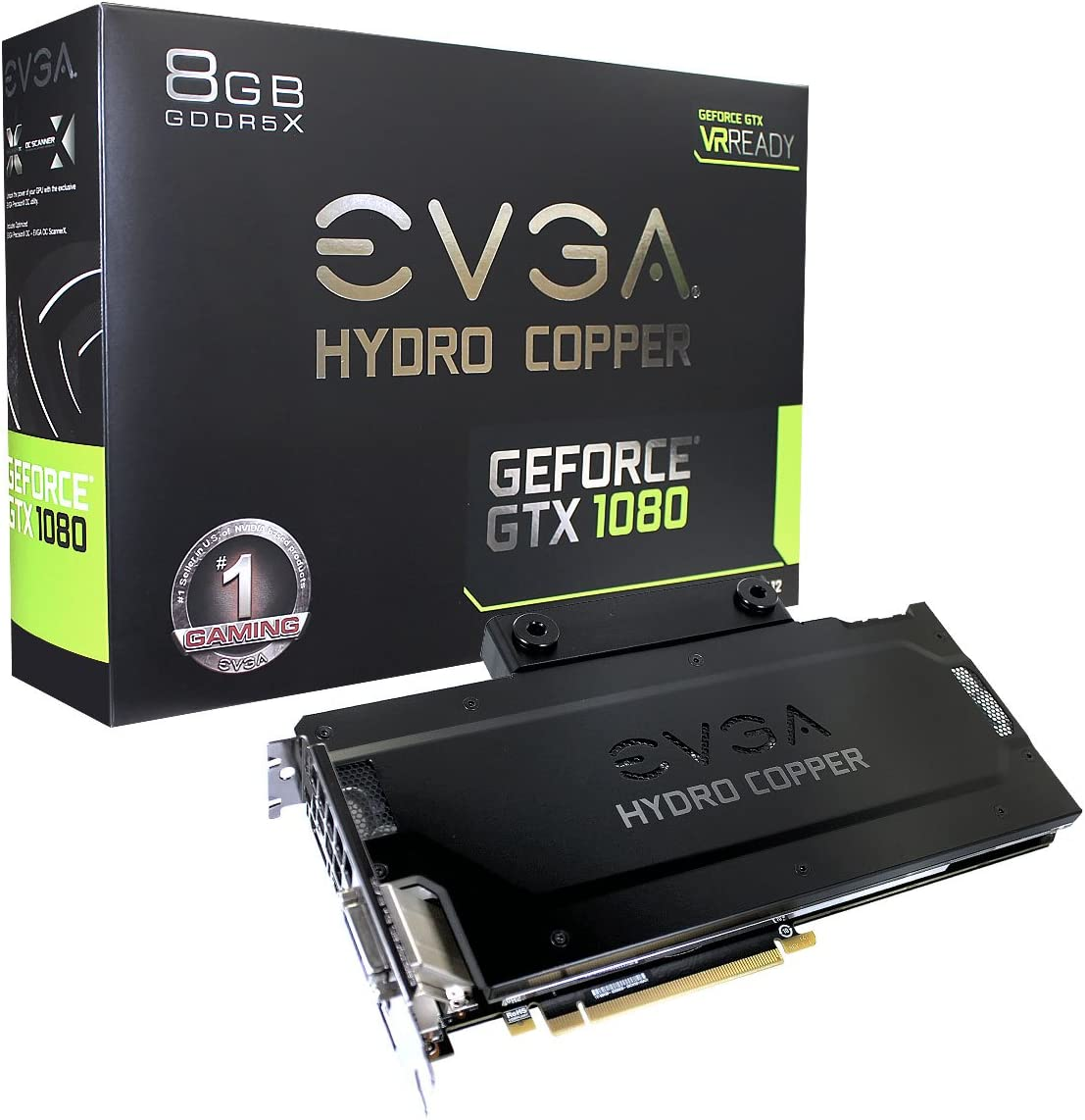 EVGA GeForce GTX 1080 FTW HYDRO COPPER GAMING, 8GB GDDR5X, RGB LED, HYDRO COPPER Waterblock, 10 Power Phases, Double BIOS DX12 OSD Support (PXOC) Graphics Card 08G-P4-6299-KR
