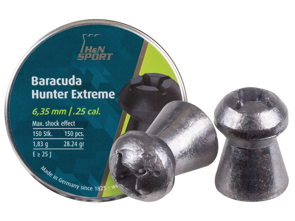 Haendler & Natermann H&N Baracuda Hunter Extreme Pellets.25 Cal, 28.24 Grains, Hollowpoint, 150ct by Haendler & Natermann