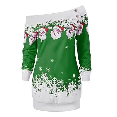 Casual Tops Blouse Sweatshirt Jumper Christmas Xmas Snowflake Print Long Sleeve