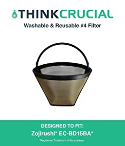Think Crucial Replacement for Zojirushi Gold Tone Coffee Filter 4, Fits EC-BD15BA Fresh Brew Thermal Carafe Coffee Maker
