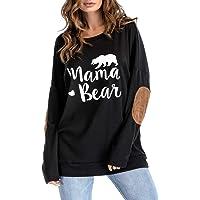 Womens Long Sleeve Sweatshirts,Mama Bear Elbow Patch Crew Neck Loose Tunic Blouse Tops T-Shirts