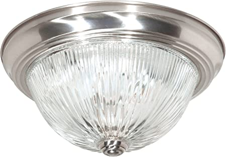 """Textured White SF76-193 Clear Ribbed Glass Nuvo 3 Light 15/"""" Flush Mount"""