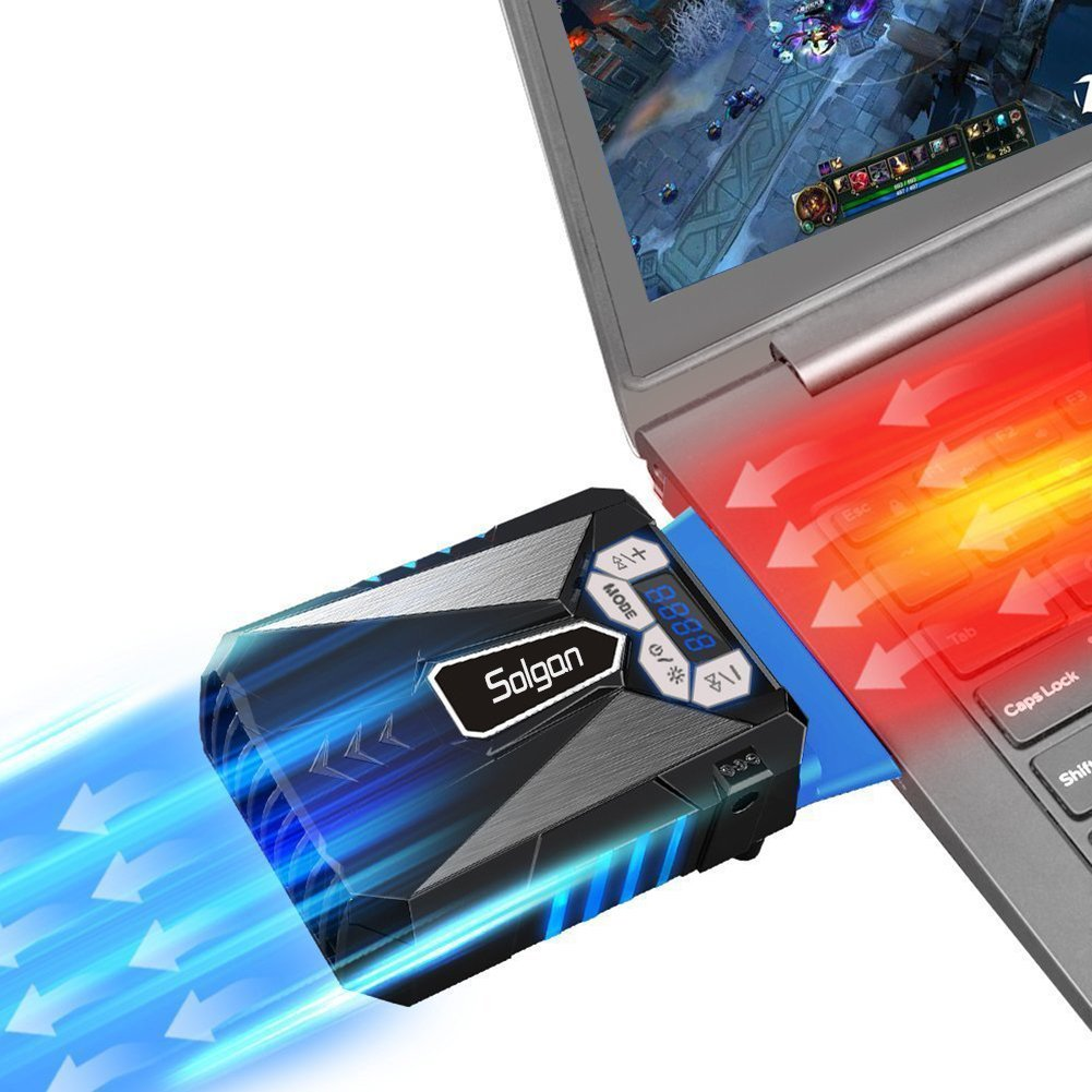 Solgan Laptop Cooler Fan with Temperature Display, Auto-Temp Detection and Rapid Cooling, USB Powered, Perfect for Gaming Laptop