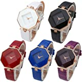 Top Plaza Fashion Womens Analog Quartz Wristwatches PU Leather Band Rose Gold/Gold Tone