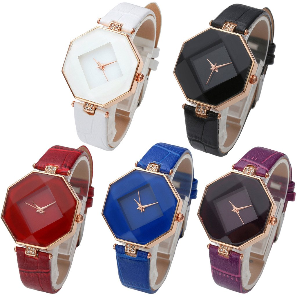 Top Plaza 5pcs Rhombus Octagon Rose Gold Case Non Scale Crystal Rhinestones Leather Strap Quartz Watch Set