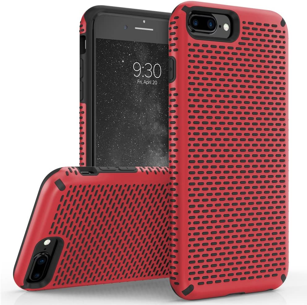 ZIZO Echo Series Compatible with iPhone 8 Plus Case Dual Layered with Anti Slip Grip iPhone 7 Plus iPhone 6s Plus Case Red Black
