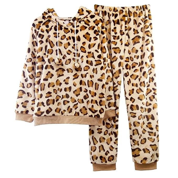 Mmllse Pijamas De Terciopelo De Coral De Invierno Lindo Traje De Impresión De Leopardo De Invierno