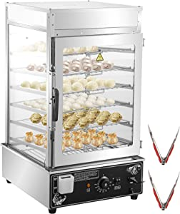 VEVOR 110V Commercial Bun Steamer, 6-Layer Restaurant Bun Warmer, Electric Food Steamer with 15.2x16.5-Inch Racks, 30-110℃/86-230℉ Bun Bread Steamer Machine, 1200W Hot Dog Steamer Warmer, for Buffet