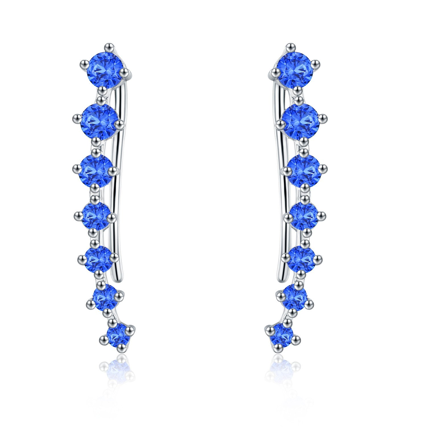 EVER SHINE Ear Cuffs Vines Climbers Wrap Pierced Pins Hook Earrings CZ Crystal 7 Stones (Silver Tone with Blue Cubic Zirconia)