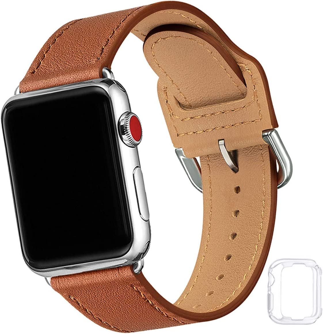 Compatible with Apple Watch Band 38mm 40mm 42mm 44mm, Soft Leather Watch Band Replacement Strap for iWatch SE Series 6 5 4 3 2 1 (Brown with Silver, 38MM/40MM)