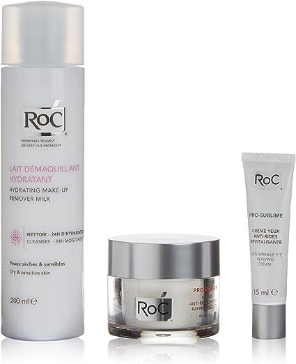 Roc Pro Define Leche Limpiadora + Crema Reafirmante + Crema Antiarrugas Ojos - 1 Pack: Amazon.es: Belleza